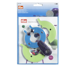 Pompon-Maker 2 in 1 Set - L - 146 x 90mm - Prym - Pflaumenblau/Apfel/Poolblau