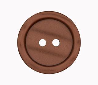 1 Polyesterknopf - 23mm - 2-Loch - Erhabener Rand - Braun