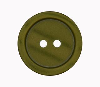 1 Polyesterknopf - 23mm - 2-Loch - Erhabener Rand - Tannengrün
