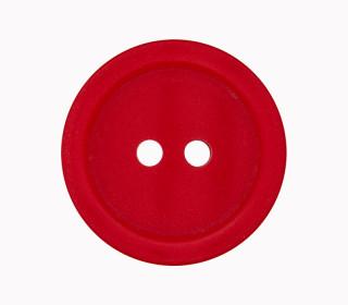 1 Polyesterknopf - 23mm - 2-Loch - Erhabener Rand - Rot