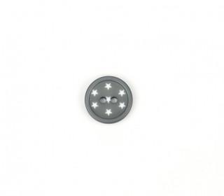 1 Polyesterknopf - Rund - Kleine Weiße Sterne - 15mm - 2-Loch - Grau