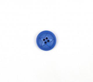 1 Polyesterknopf - Rund - 20mm - 4-Loch - Stern - Jeansblau