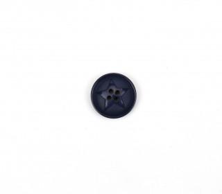 1 Polyesterknopf - Rund - 20mm - 4-Loch - Stern - Nachtblau