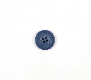 1 Polyesterknopf - Rund - 20mm - 4-Loch - Stern - Taubenblau