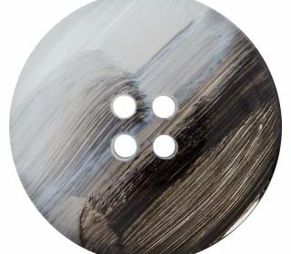 1 Polyesterknopf - 28mm - 4-Loch - Grau/Schwarz
