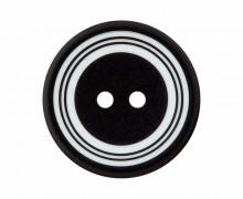 1 Polyesterknopf - 20mm - 2-Loch - Kreise - Schwarz/Weiß