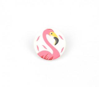 1 Kinderknopf - Rund - Flamingo - 18mm - Öse - Weiß