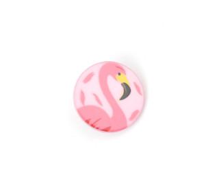 1 Kinderknopf - Rund - Flamingo - 18mm - Öse -Babyrosa