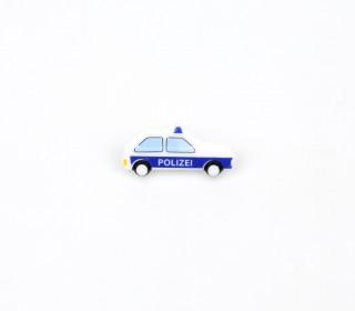 1 Kinderknopf - Polizeiwagen - 25mm - Öse - Weiß/Blau