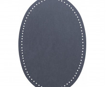 2 Flicken - Wildlederimitat - Aufbügelbar - 14x9,5cm - Oval - Veno - Taubenblau