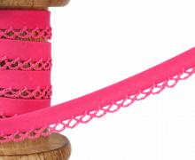 1m Schrägband - Häkelborte - Uni - 12mm -  Pink