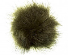 Pompon - Bommel - Puschel - Kunstpelz - 12cm - Olivgrün