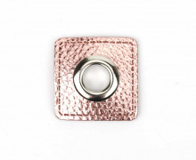 Kunstleder Öse - Quadrat - 11mm - Square - Patches - Nappa - Metallic - Rosé/Silber