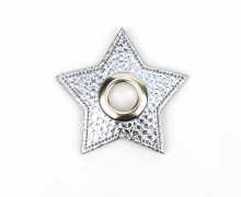 Kunstleder Öse - Stern - 11mm - Star - Patches - Nappa - Metallic - Silber/Silber