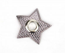Kunstleder Öse - Stern - 11mm - Star - Patches - Nappa - Metallic - Anthrazit/Silber