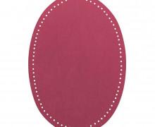 2 Flicken - Wildlederimitat - Aufbügelbar - 14x9,5cm - Oval - Veno - Dunkelrosa