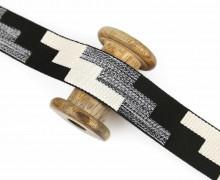1m Gurtband - Deco - Farb-Treppen - 38mm - Warmweiß/Schwarz/Schwarz Meliert