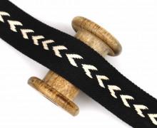 1m Gurtband - Pfeile - 38mm - Schwarz/Warmweiß