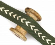 1m Gurtband - Pfeile - 38mm - Olivgrün/Warmweiß