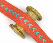 1m Gurtband - Pfeile - 38mm - Rostorange/Mint