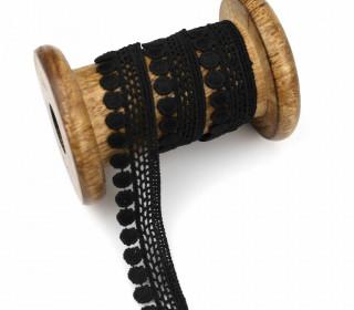 1 Meter Spachtelspitze - Spitzenborte - 18mm - Schwarz