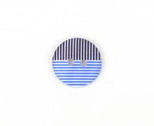 1 Polyesterknopf - 12mm - 2-Loch - Streifen - Blau/Stahlblau/Weiß