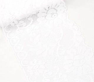 1m Elastische Spitze - Raschelspitze - 115mm - Floral - Weiß