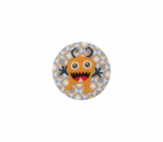 1 Polyesterknopf - Rund - Monster - 15mm - Öse - Weiß/Hellgrau
