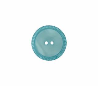 1 Polyesterknopf - 12mm - 2-Loch - Uni - Erhabener Musterrand - Pastelltürkis