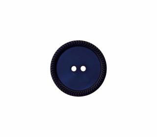 1 Polyesterknopf - 12mm - 2-Loch - Uni - Erhabener Musterrand - Stahlblau