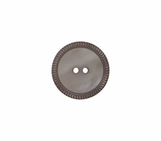 1 Polyesterknopf - 12mm - 2-Loch - Uni - Erhabener Musterrand - Grau