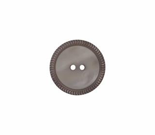 1 Polyesterknopf - 18mm - 2-Loch - Uni - Erhabener Musterrand - Grau