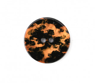 1 Polyesterknopf - 23mm - 2-Loch - Aquarellmuster - Orange/Schwarz