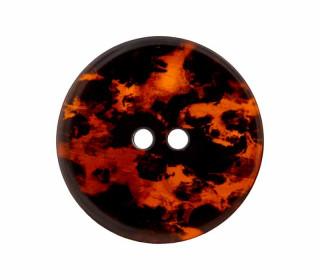 1 Polyesterknopf - 23mm - 2-Loch - Aquarellmuster - Orangerot/Schwarz