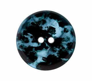 1 Polyesterknopf - 23mm - 2-Loch - Aquarellmuster - Taubenblau/Schwarz