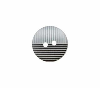 1 Polyesterknopf - 12mm - 2-Loch - Streifen - Schwarz/Hellgrau/Weiß