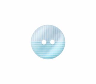 1 Polyesterknopf - 15mm - 2-Loch - Streifen - Hellblau/Cyanblau/Weiß