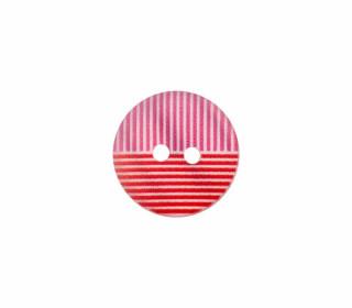 1 Polyesterknopf - 15mm - 2-Loch - Streifen - Rot/Pink/Weiß