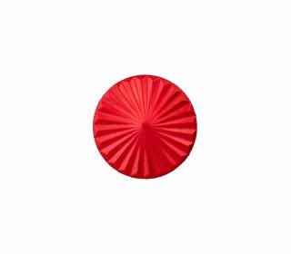1 Polyesterknopf - 15mm - Öse - Rundes Fächermuster - Glänzend - Rot