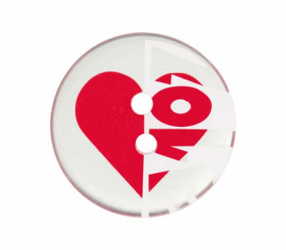 1 Polyesterknopf - 20mm - 2-Loch - Love - Transparent/Rot/Weiß