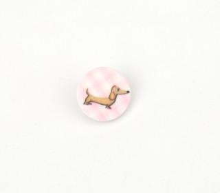 1 Polyesterknopf - Rund - Dackel - 18mm - Öse - Weiß/Rosa