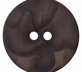 1 Polyesterknopf - Rund - Perlmuttoptik - 11mm - 2-Loch - Dunkelbraun