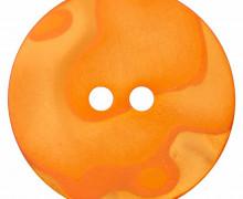1 Polyesterknopf - Rund - Perlmuttoptik - 23mm - 2-Loch - Orange