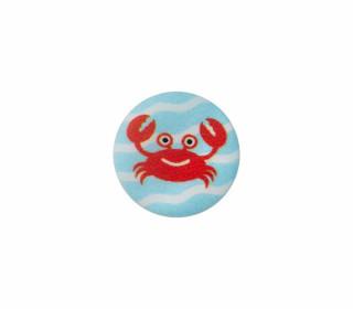 1 Polyesterknopf - Rund - Krebs - 12mm - Öse - Weiß/Hellblau