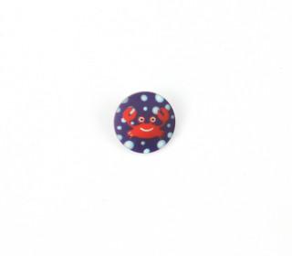 1 Polyesterknopf - Rund - Krebs - 12mm - Öse - Dunkelblau/Weiß