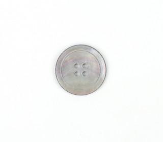 1 Perlmuttknopf - Rund -  23mm - 4-Loch - Grau