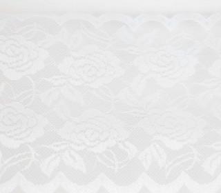 1m Elastische Spitze - Raschelspitze - 150mm - Blumen - Weiß