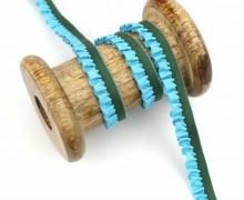 1 Meter Gummiband - Rüschen - Ziergummi - 12mm - Cyanblau/Dunkelgrün