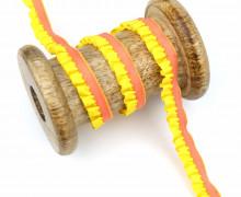 1 Meter Gummiband - Rüschen - Ziergummi - 12mm - Gelb/Lachsorange