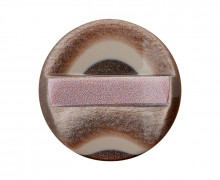1 Polyesterknopf - Rund - 25mm - Öse - Erhaben - Muster - Braun/Altrosa